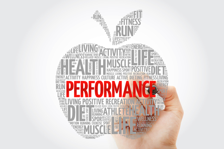 PERFORMANCE apple word cloud with marker, health concept Stock Photo