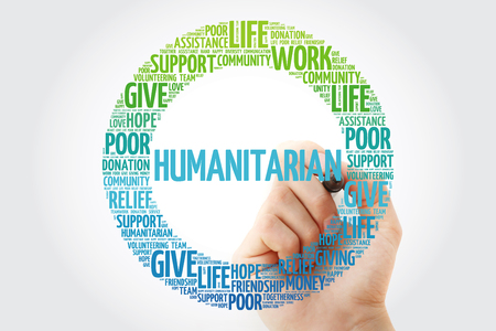 Humanitarian word cloud collage with marker, social concept background 版權商用圖片 - 116406260