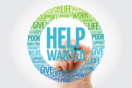 Help Wanted word cloud with marker, social concept background