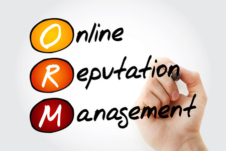 ORM - Online Reputation Management, acronym business concept background Foto de archivo