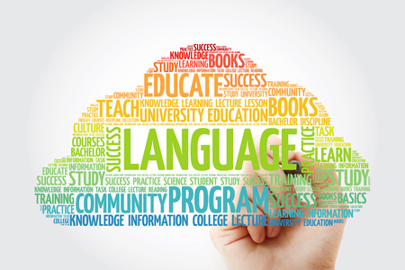 LANGUAGE word cloud collage with marker, education concept background Imagens