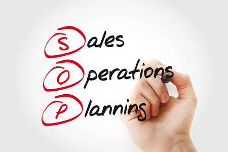 Hand writing SOP - Sales and Operations Planning with marker, acronym business concept