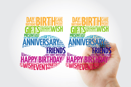 Happy 55th birthday word cloud with marker, collage concept