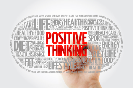 Positive thinking medical pill word cloud with marker, health concept background Reklamní fotografie