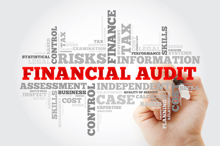 Financial Audit word cloud with marker, business concept background Stock fotó
