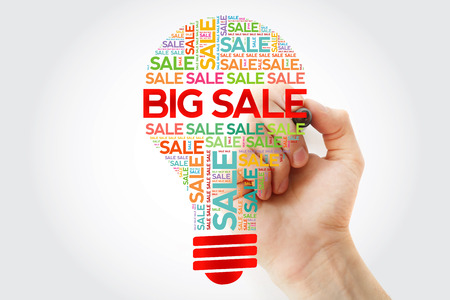 BIG SALE bulb word cloud with marker, business concept background