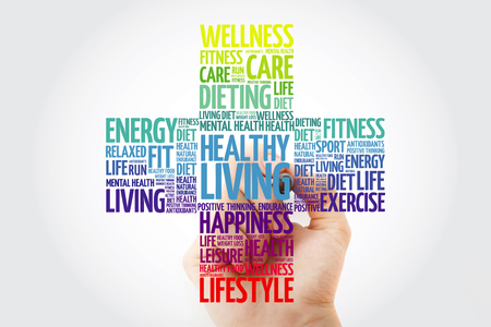 Healthy Living word cloud collage with marker, health cross concept background