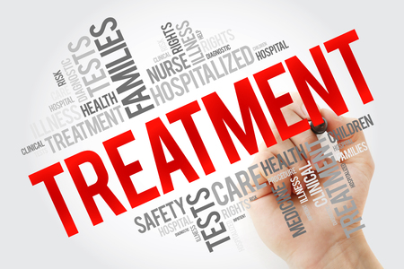 Treatment word cloud collage with marker, health concept background