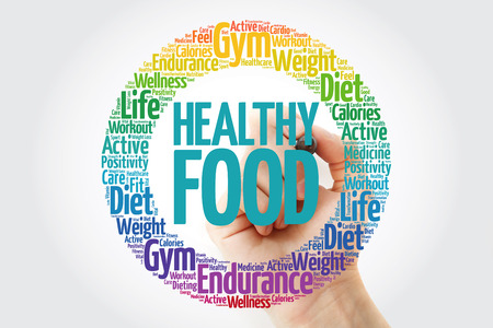 Healthy Food circle word cloud with marker, fitness, sport, health concept Banco de Imagens