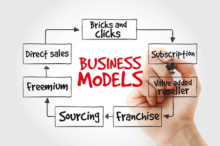Hand writing Business models with marker, business concept strategy mind map Stock Photo