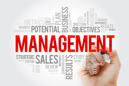 MANAGEMENT word cloud collage with marker, business concept background Stock Photo