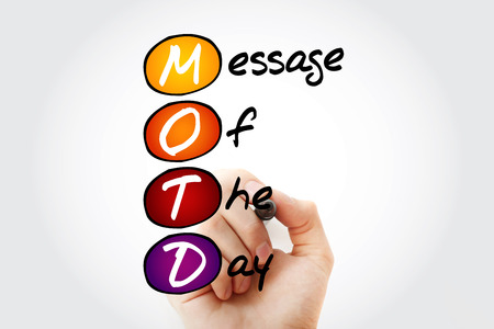 Hand writing MOTD - Message Of The Day acronym with marker, concept background