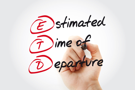 Hand writing ETD - Estimated Time of Departure with marker, acronym business concept Stock Photo