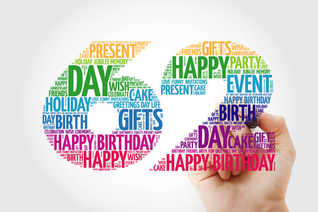 Happy 62nd birthday word cloud with marker, collage concept