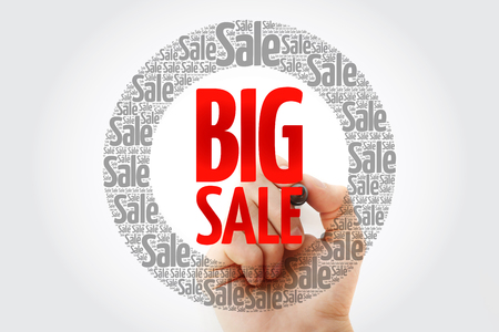 BIG SALE words cloud with marker, business concept background 免版税图像