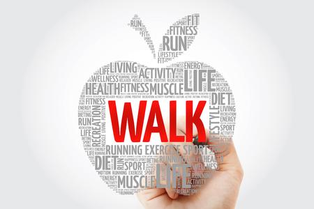 WALK apple word cloud with marker, health concept Stok Fotoğraf