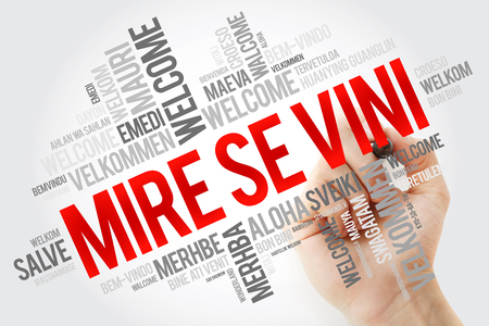 Mire se vini (Welcome in Albanian) word cloud in different languages, conceptual background with marker