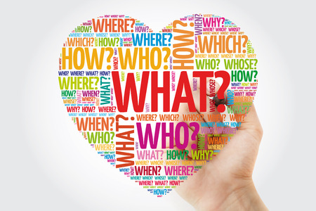 Heart word cloud with questions whose answers are considered basic in information gathering or problem solving, concept with marker