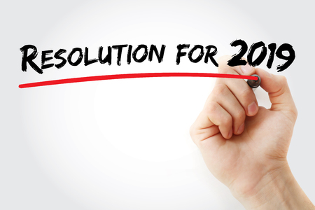 Resolution for 2019 with marker, concept background