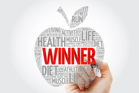 Winner apple word cloud with marker, health concept