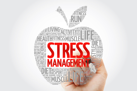 Stress Management apple word cloud with marker, health concept background
