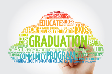 GRADUATION word cloud collage with marker, education concept background