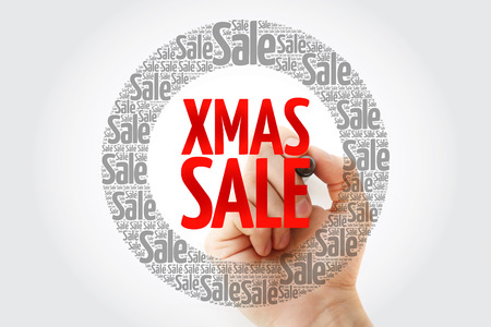 XMAS SALE word cloud with marker, business concept background