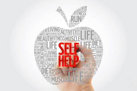Self Help apple word cloud with marker, health concept