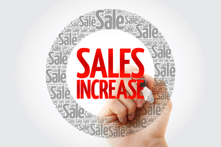 Sales Increase words cloud with marker, business concept background Banco de Imagens