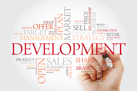 Development word cloud with marker, business concept background Stok Fotoğraf