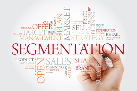 Segmentation word cloud with marker, business concept background