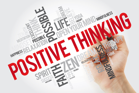 Positive thinking word cloud with marker, health concept background