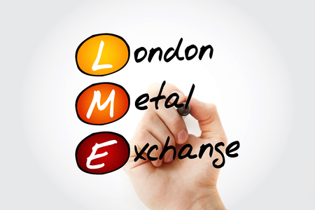 LME - London Metal Exchange acronym with marker, business concept background