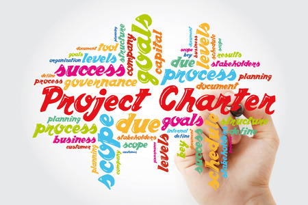 Project Charter word cloud collage, business terms such as method, process, leads concept background with marker