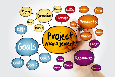 Project management mind map flowchart with marker, business concept for presentations and reports Stock Photo