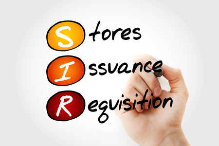 SIR - Stores Issuance Requisition acronym with marker, business concept background