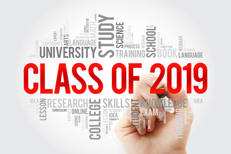 CLASS OF 2019 word cloud with marker, education concept background