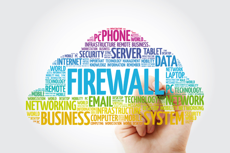 FIREWALL word cloud with marker, technology concept background
