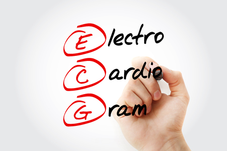ECG - electrocardiogram acronym with marker, concept background