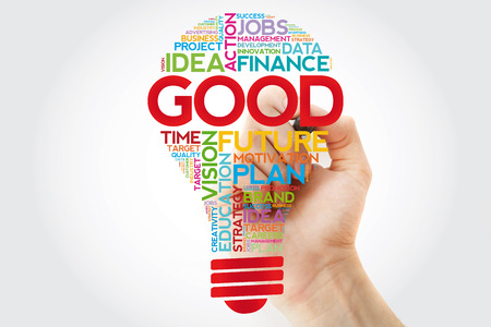 GOOD bulb word cloud collage with marker, business concept background Stock Photo