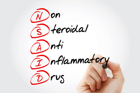 NSAID - nonsteroidal anti-inflammatory drug acronym with marker, concept background 版權商用圖片