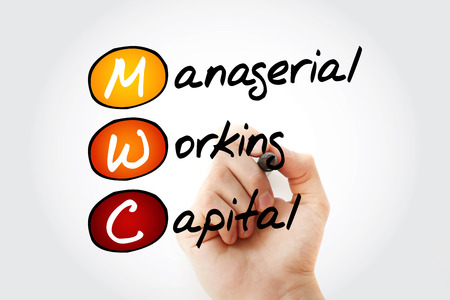MWC - Managerial Working Capital acronym with marker, business concept background