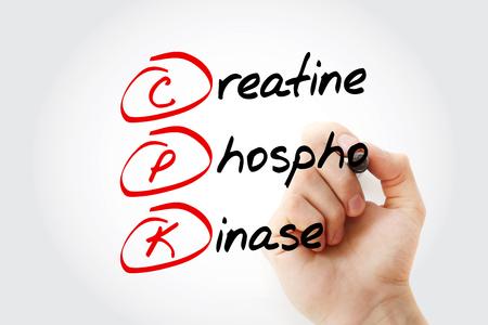 CPK - creatine phosphokinase acronym with marker, concept background
