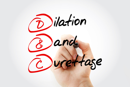 D and C - Dilation and Curettage acronym with marker, concept background Imagens