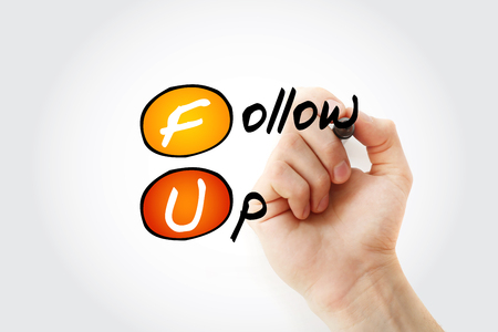 FU - Follow-Up acronym with marker, concept background