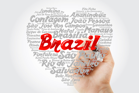 Heart word cloud with List of cities in Brazil, concept background with marker