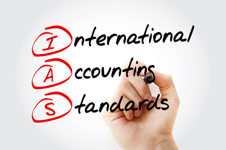 IAS - International Accounting Standards acronym with marker, business concept background