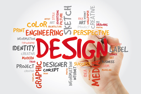 DESIGN word cloud with marker, creative business concept 版權商用圖片