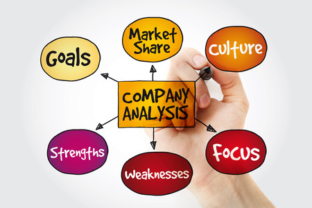 Company analysis mind map with marker, business concept