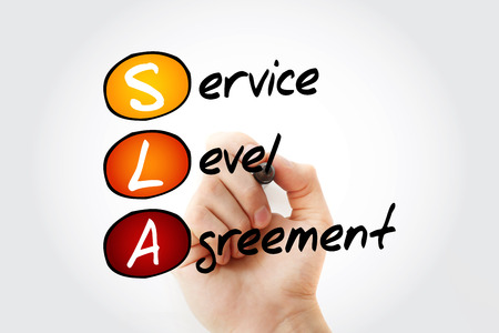 SLA - Service Level Agreement acronym with marker, business concept background Standard-Bild